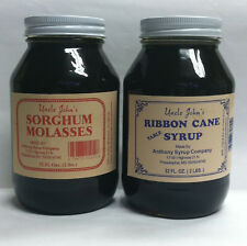 Uncle Johns Ribbon Cane Table Syrup and Sorghum Molasses Sampler Glass Quarts