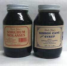Uncle Johns Ribbon Cane Table Syrup and Sorghum Molasses Sampler Glass Quarts