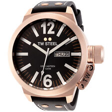 TW Steel CE1022  Men's Canteen 50mm Rose Gold-Tone Black Dial Leather Watch