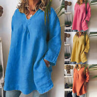 New Women Plus Size Long Sleeve Pockets V-Neck Solid Loose Pullover Tops Shirt