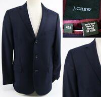 J. Crew Men's Legacy Blazer Sport Coat Size 40R 100% Wool Navy Blue