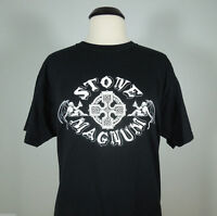 STONE MAGNUM Band Logo T-Shirt Black Men's size XL (R.I.P. Records) (NEW)