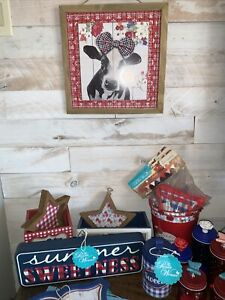 "NEW Pioneer Woman Gingham Wood Cow Sign - 12"" x 12"" x 1"""
