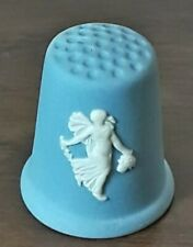 Vtg White Raised Relief Woman w/Basket Wedgwood Blue Jasperware Sewing Thimble