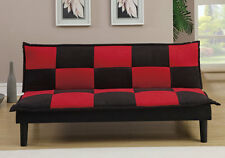 Living Furniture Adjustable Sofa Bed Futon Couch Black Red Checkered Microfiber