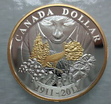 2011 CANADA 100th ANN OF CANADIAN NATIONAL PARKS PROOF SILVER DOLLAR GOLD PLATED