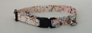 Handmade Liberty Print Cat Collar, Safety Release Buckle, Bell, Charm