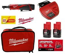 MILWAUKEE M12 LITHIUM-ION RATCHET TOOL 2457-20,TWO 2.0 BATTERY,CHARGER & CASE
