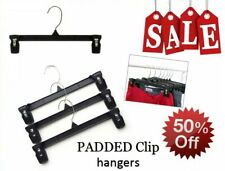 """Black Clothes Hangers with PADDED CLIPS - 12"""" pants - Lot of 100 *SALE* 50% off"""