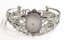 2 of 25x18 mm Antique Silver Victorian Vintage Art Nouveau Cuff Bracelet Setting