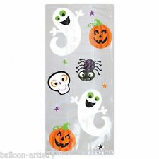 12 x Trick Or Treat Cello Loot Bags Halloween Party Gift Cute Ghost Pumpkin Kids
