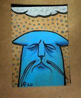 Original OOAK Painting ACEO ATC 2.5 x 3.5 Signed Sad Depressed Blue Cat Rain