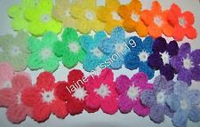 Lot 24 fleurs applique  au crochet 5,5 cm scrapbooking customisation