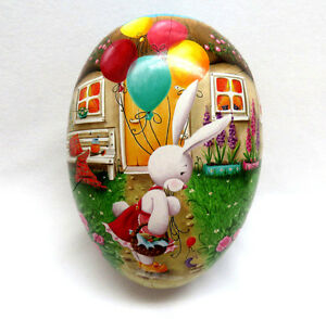 "6"" Nestler Germany Paper Mache Easter Egg Candy Box Container  Bunny & Balloons"