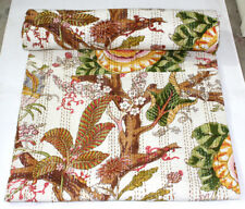 Kantha Quilt Bedspread 100%Cotton Floral Queen Bedcover Indian White Bed Throws