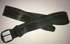 Vintage 70's Anderson Little Wide Green embossed Leather Belt Sz 32