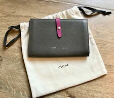 Pre-Loved CELINE Multifunction Gray Purple Grained Pebbled Leather Large Wallet