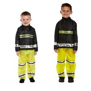 Boys Fireman Fancy Dress Up Fire Fighter Costume Outfit Ages 3-9 yrs World Book