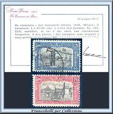 1928 Italia Regno Milizia IIª Due alti valori n. 222/223 Certificato Diena Usati