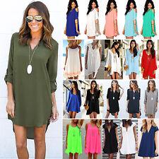 Damen Hemdbluse Lange Shirt Minikleid Chiffon Sommer Strandkleid Business Kleid