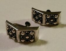 Vintage 925 Sterling Silver Mexico Clip Earrings Studded Domino Style  Curved