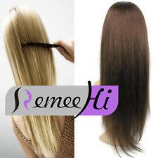 "18""160G Machine weft cap 100% real Remy 100%  Human Hair Glueless 3/4 Half Wig"