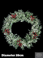 Gisela Graham Christmas Wreath 26cm Holly Berry Glitter Hanging Door Decoration