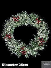 Gisela Graham Christmas Wreath 26cm Holly Berry Glitter Hanging Door Decoration