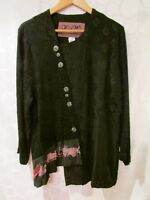 "DONNA JESSICA ""Origami"" Black Wearable Art Lagenlook Shirt Jacket Size 2 USA"