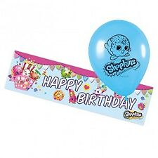 Shopkins 1 X Happy Birthday Foil Banner and 6 Blue Balloons
