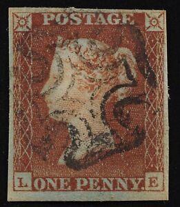 Penny Red SG#7 Black Plate 5 pos LE 4 margins. see images front+back