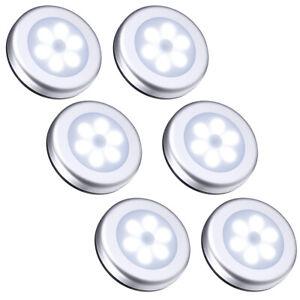 6PCS LED PIR Motion Sensor Wireless Night Lights Battery Cabinet Closet Lamp Set