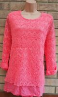 BONMARCHE PINK KNIT KNITTED CROCHET 3/4 SLEEVE JUMPER TOP BLOUSE TUNIC 18