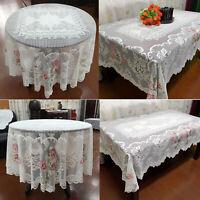 Weihnachten Tischdecke Tischtuch Mitteldecke Weiß Vintage Spitze Deckchen Blumen