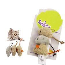 3Pcs Vivid Fur False Plush Mouse Pet Kitten Cat Toy Mini Funny Playing Toys Cute