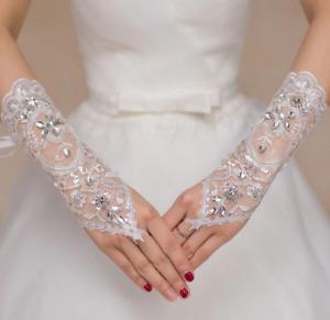 Brauthandschuhe für die Hochzeit Spitze Braut Handschuhe Weiß Blumenmotiv P349