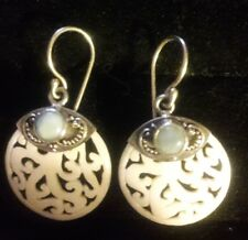 "925 sterling silver 1.5"" dangle earrings carved  Indonesia New"