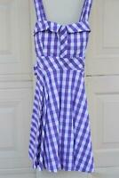 Flouncy Gingham Plaid Tie Back Dress - Lilac  USA Made Rockabilly Fit N Flare