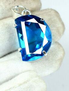 925 Silver 47.70 Ct Fancy Sky Blue Topaz Pendant Certified H660 Give Away Offer/