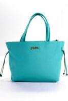 Folli Follie Womens Leather Gold Tone Tote Shoulder Handbag Turquoise Blue