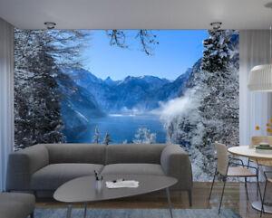 White Snow Winter Tree Lake Mountain Photo Wallpaper Mural Poster Decoration