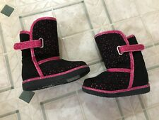 Paris Blues Toddler size 5 Fuzzy Winter boots faux fur lined black and hot pink