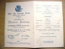 St. George Club~Musical Evening @ Alexandra Hotel, Manchester 1910, 6th July