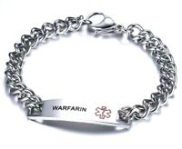 Warfarin Blood Thinner Medical Alert Bracelet Stainless Steel Chain Curb Silver