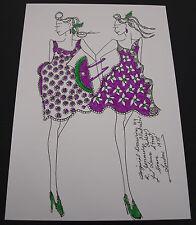 Roz Jennings Fashion Drawing Original Art Work Illustrator Laura Ashley 1970s D9