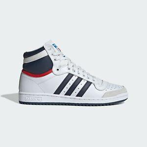 New Adidas Men's Originals Top Ten High OG Shoes (D65161)  White // Navy-Red