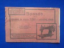 Vintage Sewing machine TITAN owner's manual - Maszyny do szycia TITAN Instrukcja
