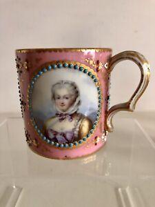 French Sevres Porcelain Cup Handpainted Portrait Louis XV Circa 1760