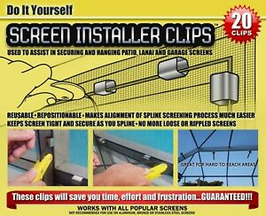 PATIO, LANAI AND PORCH WINDOW SCREEN INSTALL CLIPS (20 clip pack)