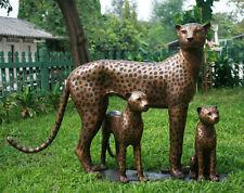 Bronzeskulptur Leopardenfamilie lebensecht Gartendekoration *